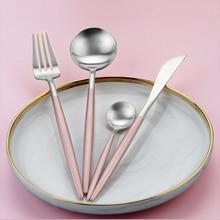 Купить с кэшбэком Hot Sale 4 Pcs/set Rose silver european Dinnerware knife 304 Stainless Steel Western Cutlery Kitchen Food Tableware Dinner Set