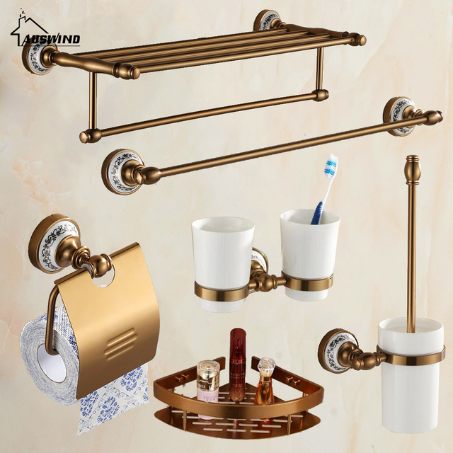 Antique Br Brushed Aluminum Bathroom Hardware Set Wall Mounted Accessories 6 Items In Complete