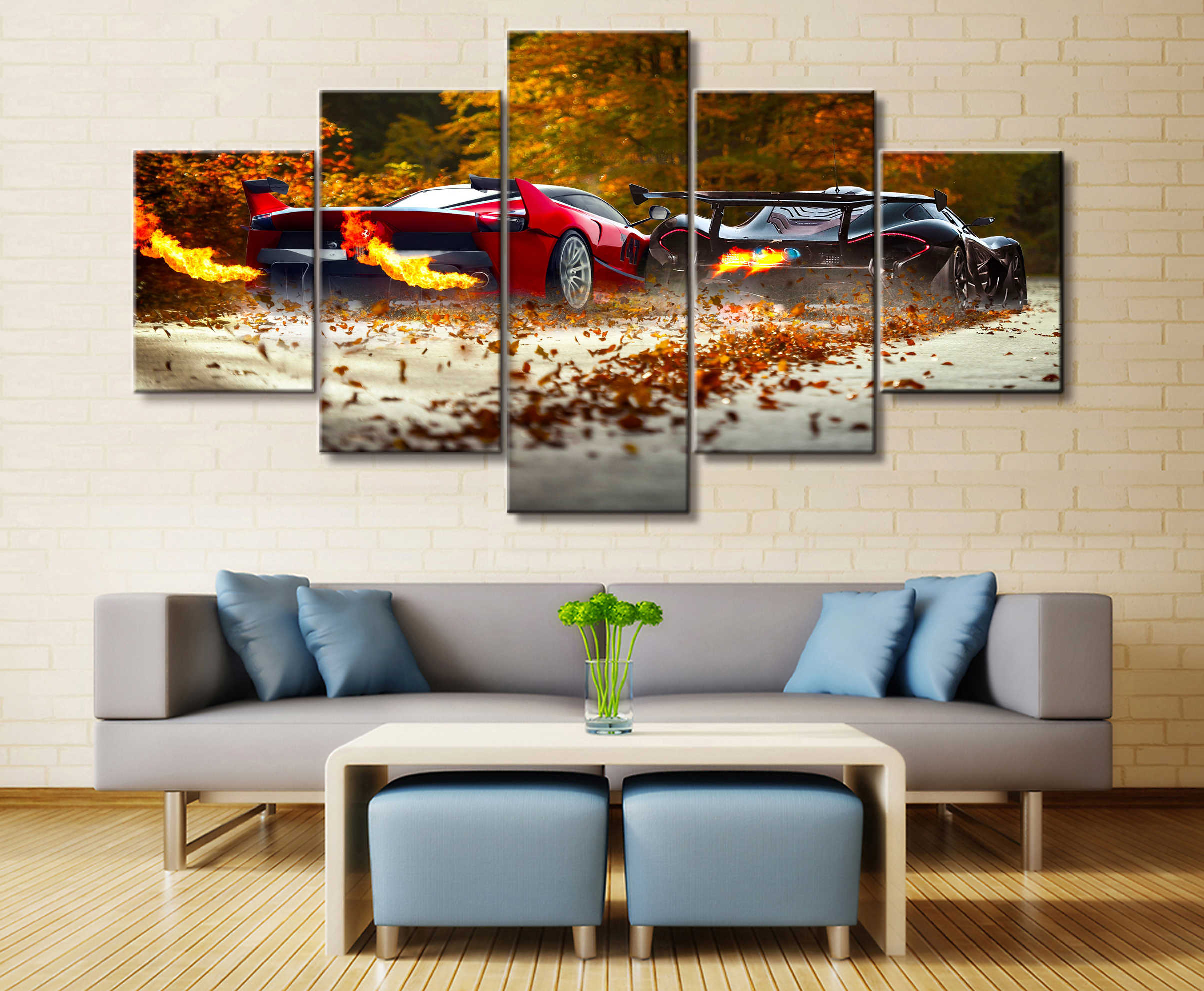 5 Pieces P1 and Laferrari Car Poster Modern Wall Art Decorative Modular Framework Picture Canvas HD Printed One Set Painting
