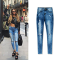 Olrain 2017 Fashion New Spring Jeans Woman Cotton Slim Ankle-Length Pants Washed Irregular Vintage High Waist Hole Tsaael Jeans