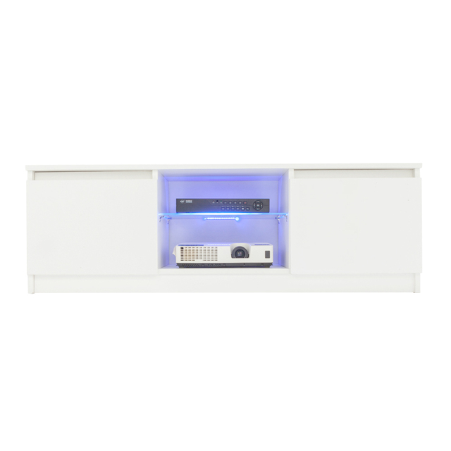 High Gloss Tv Stand Unit Cabinet Console W Led Shelves 2 Drawers