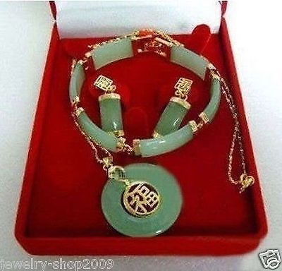 Wholesale price 16new ^^^^Jewelry real lucky stone pendant bracelet earrings sets wholesale price 16new ^^^^ewellery green stone inlay zircon earring pendant ring sets