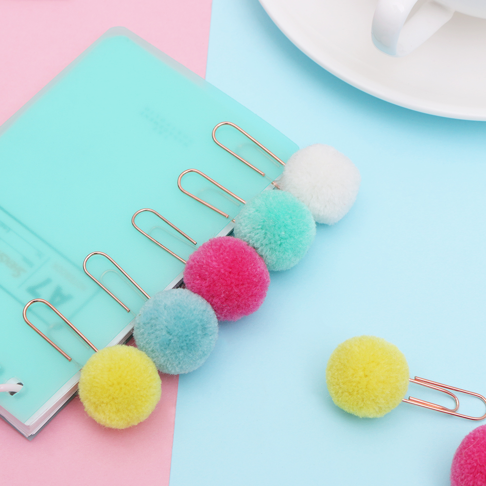 Office Binding Supplies 10pcs/set Cute Hairball Rose Gold Clip Modelling Plush Ball Paper Clip Bookmark Sealing Clamp School Supplies Stationery Special Summer Sale Energetic Hot