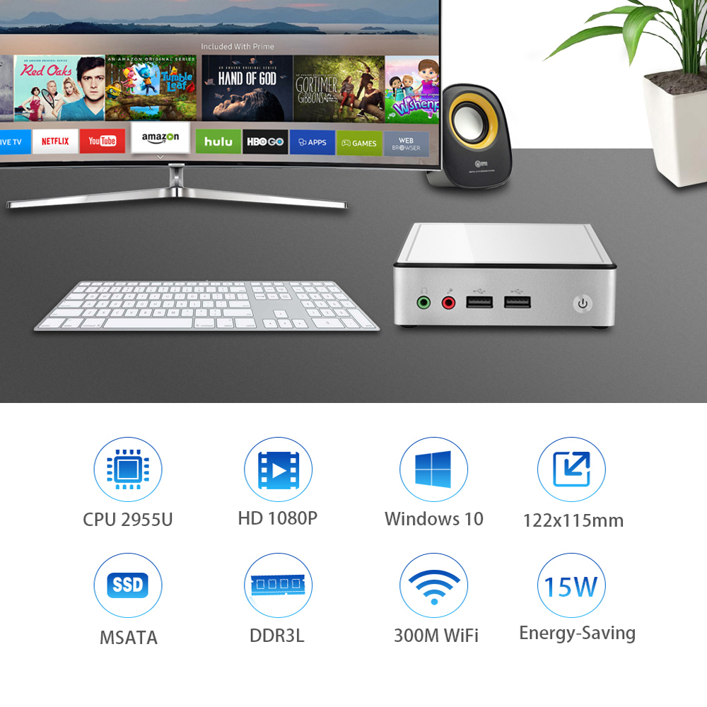 Image 2 - Fanless Mini PC Intel Core i7 4610Y i5 4200Y i3 4010Y Windows 10 WiFi Gigabit Ethernet 4xUSB HDMI TV BOX HTPC-in Mini PC from Computer & Office
