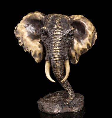 Copper Brass CHINESE crafts ation Asian Modern Sculpture Bronze Statuette Feng Shui Statue Elephant Head Bust Sculpture Bronze