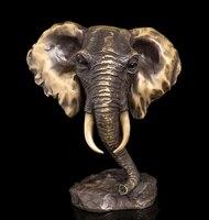 Copper Brass crafts Asian Modern Sculpture Statuette Elephant Head Bust Sculpture Bronze