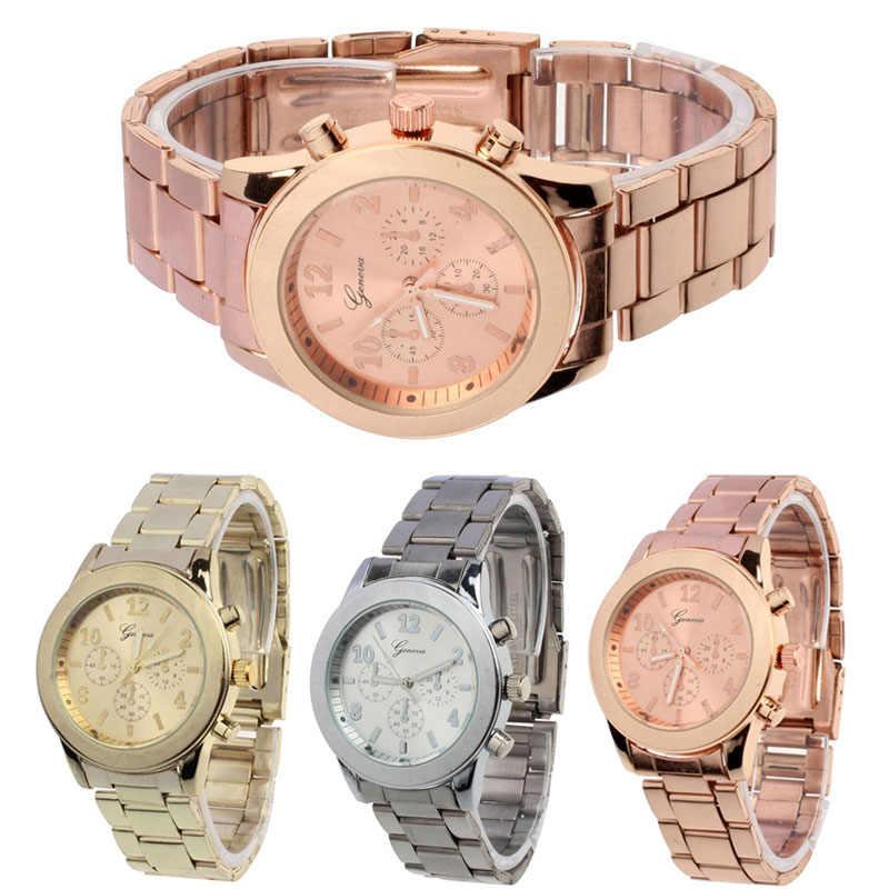 Lüks İzle kadınlar bayanlar saatler altın gümüş moda kuvars cenevre bayanlar kadınlar kız Unisex paslanmaz çelik kuvars kol saati