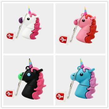 New style Cartoon Unicorn Pen Drive 64gb 32gb usb flash drive real capacity cute horse pendrive 4gb 8gb 16gb memory stick U disk