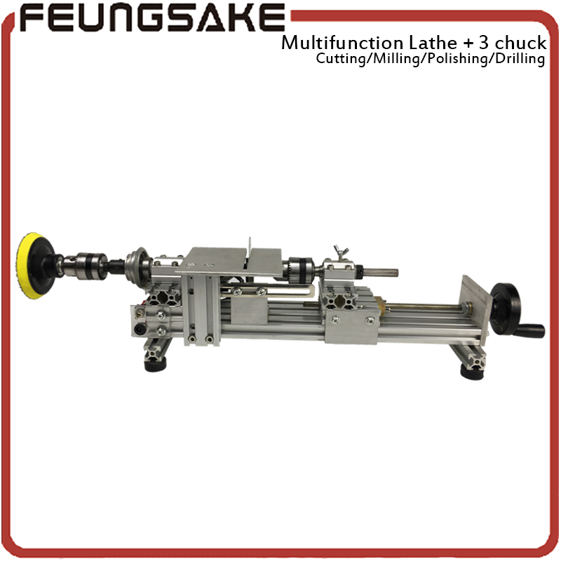multifunction lathe 10mm three chuck 96w spindle Mini Lathe Beads Machine Polishing,customize clamp length,DIY Wood Lathe Cutter