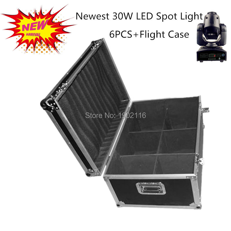 6pcs/lot with a flight case 30W DMX512 LED stage gobo light 30W led moving head lights disco dj lighting led 30W patterns light led 30w spot moving head lights party disco dj stage lighting 30w mini gobo projector dmx stage effect light led pattern lamps