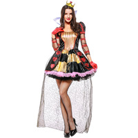 Alice in Wonderland Red Queen Costume for Adult Halloween Sexy Queen Cosplay for Women Fancy Party Uniform Funny Dresses