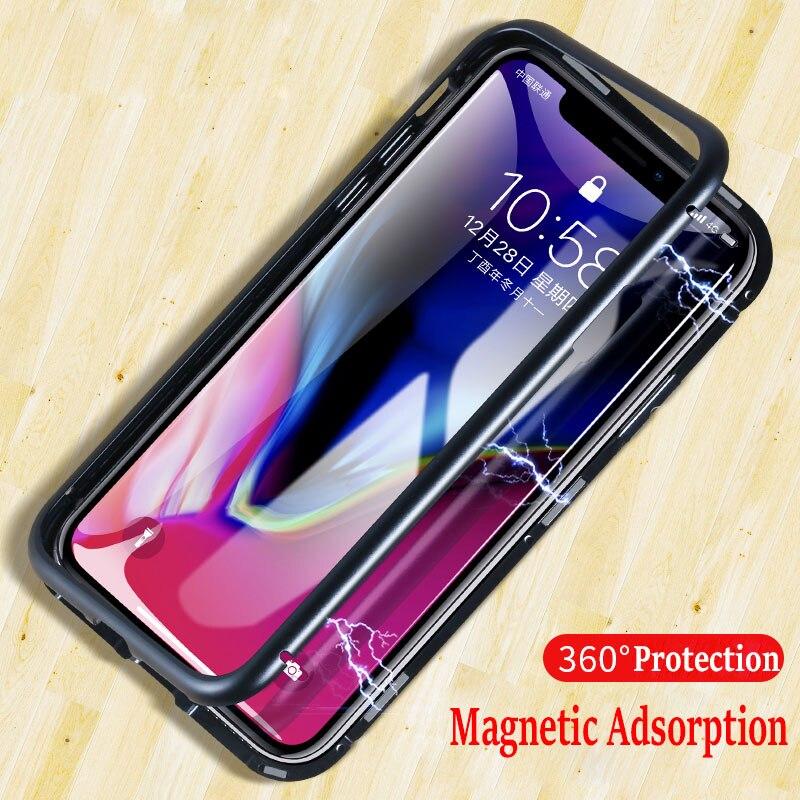 Adsorção magnética Caso para iPhone X XR 7 Plus 9 H Vidro Temperado Ímã Do Caso Da Aleta para o iphone XS MAX 8 Plus 6 s Tampa De Metal De Luxo