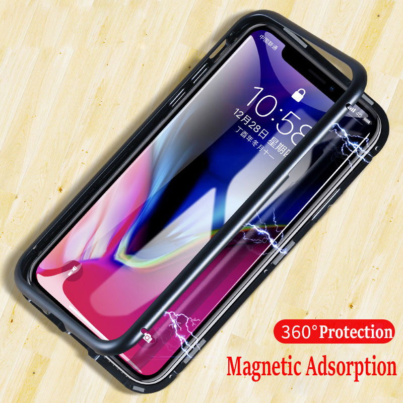 Adsorbimento magnetico di Caso per Il Iphone X 8 PIÙ di 7 Più Trasparente In Vetro Temperato + Built-In Magnete di Caso per Il Iphone 7 8 in metallo Ultra Copertura
