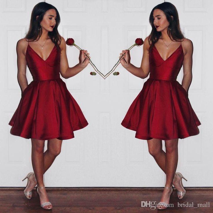 a154f16efb7 Simple Cheap Dark Red Homecoming Dress 2017 Spaghetti Straps Short Prom  Dress Satin mini graduation dress party gown