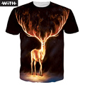 New 2017 Brand  Men Summer 3d T-shirt Fired Elk Cat Harajuku Anime Dragon Ball T Shirt Women Tops and Tees WITH YZ748