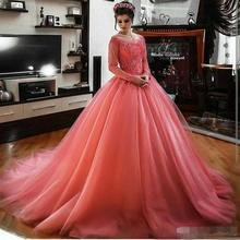 Ball-Gown Prom-Dresses Evening-Dress Quincean Tulle Long-Sleeves The-Shoulder Formal