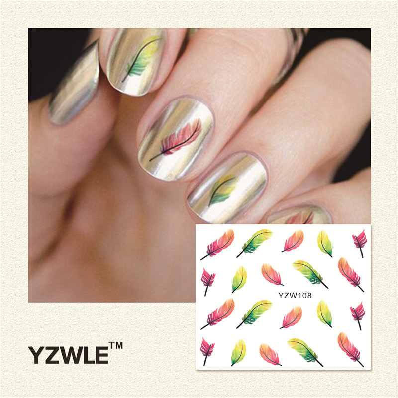 YZWLE 1 Piece Hot Sale Water Transfer Nails Art Sticker Manicure Decor Tool Cover Nail Wrap Decal (YZW108)