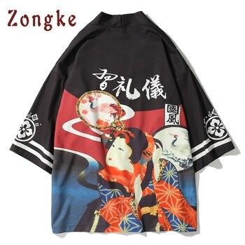 Zongke Japanese Kimono Cardigan Men Japan Geisha Print Long Kimono Cardigan Men Thin Mens Kimono Cardigan Jacket Coat 2018 cardigan