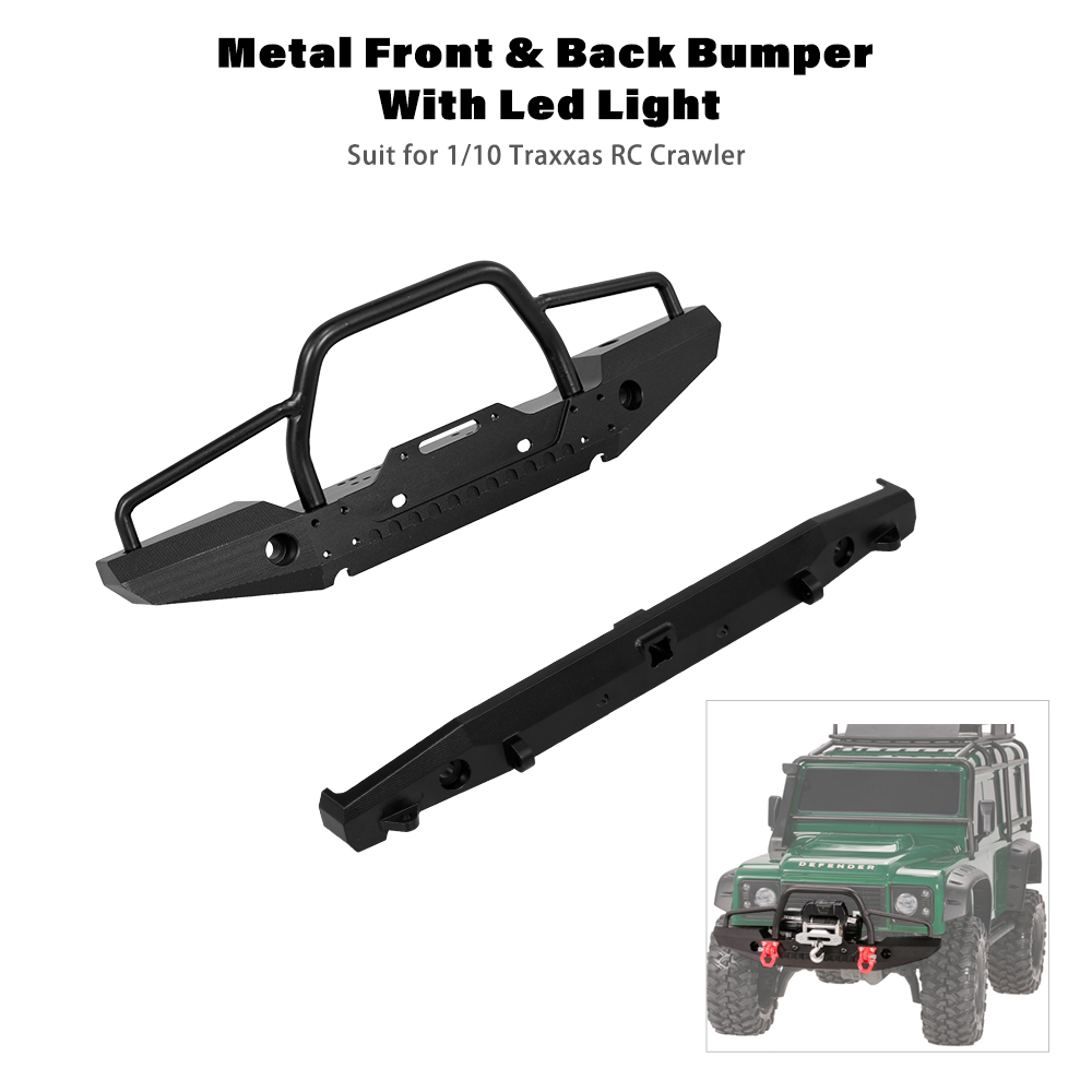 RC Car Metal Front Back Bumper with LED Light Trailer Hook Kit for 1:10 RC Rock Crawler Traxxas TRX SCX10II 90046 RC Cars цена