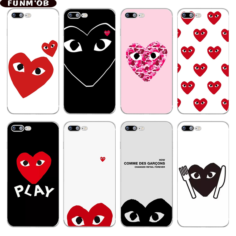 FUNMOB Japan CDG PLAY Comme des Garcons Loving eyes Clear Silicone Soft TPU Case Cover For iphone 7 8 6 6s Plus X 5 5s SE Coque