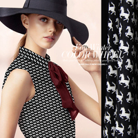 114cm Wide 14mm Anti Wrinkle White Horse Print Black Silk Crepe De Chine Fabric Material For