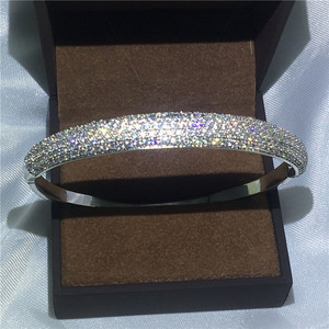 Image 3 - choucong 27 Styles Handmade bangle 5A cubic zirconia White Gold Filled Party bracelets Bangles for women men wedding accessaries