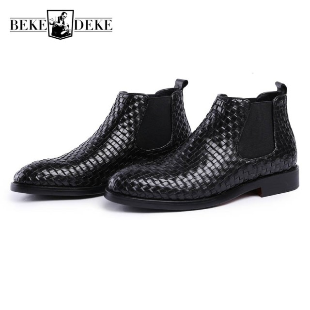 2018 New Weave Men Genuine Leather Ankle Boots Office Party Fashion Casual Chelsea Male Black
