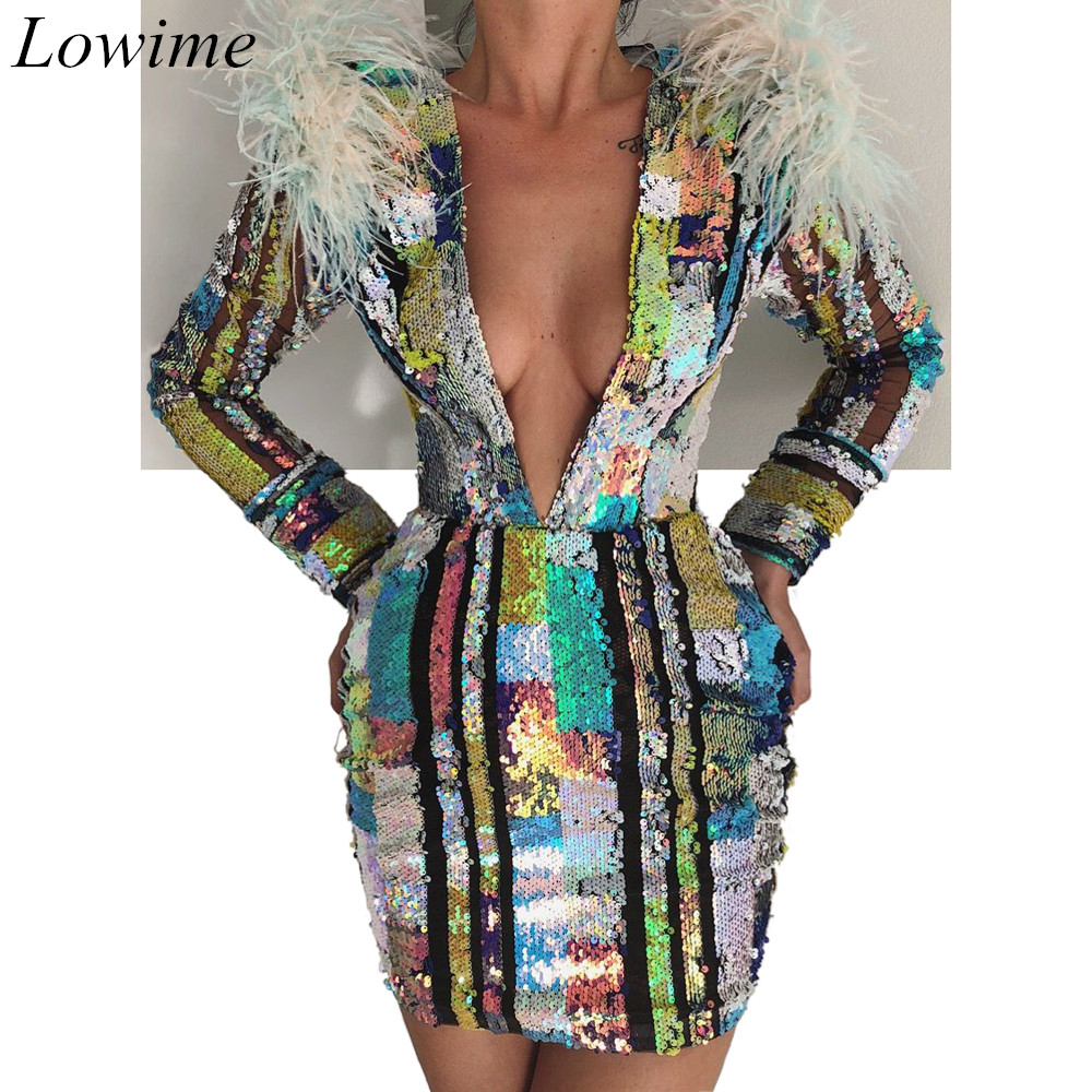 New Dubai Couture Mini   Cocktail     Dresses   2019 Long Sleeves Deep V-Neck Feathers Sexy Evening Party Gowns Women Robe De Soiree