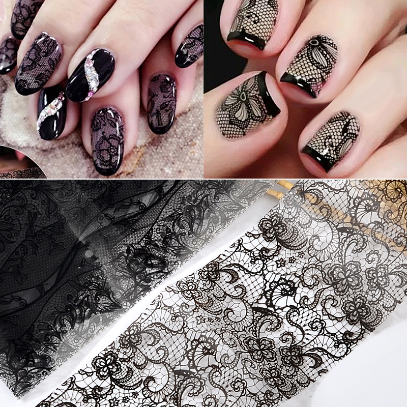 Black 1 Set 10pcs Lace Flowers Nail Stickers Popular Designs Nail Art Decals DIY Manicure Accessories