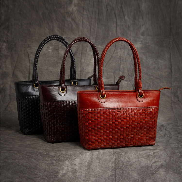 Weibliche Stil Retro Taschen Damen Luxus 2018 2 Leder Tasche Waven Neue Echtem Schulter Mode Große Handtaschen Aus Kapazität Frauen 1 vAwRxP