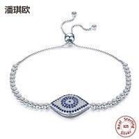 100 925 Sterling Silver Blue Eyes Tennis Bracelet Swarovski Crystal Adjustable Link Chain Evil Eyes Bracelets