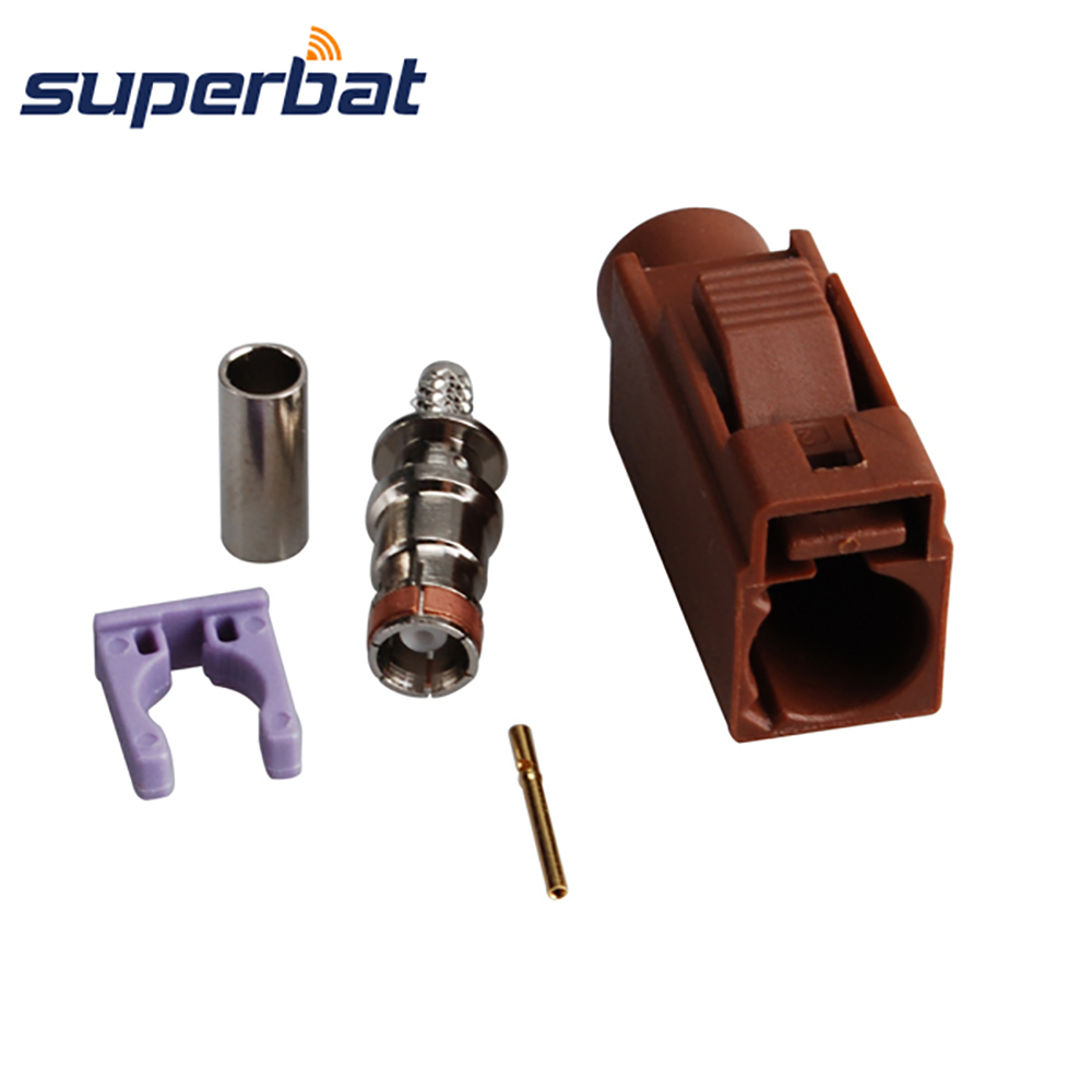 Superbat Car Antenna RF Coaxial Connector Fakra F Brown/8011 Jack Female TV2 SDARS Crimp For Cable RG316 RG174 LMR100
