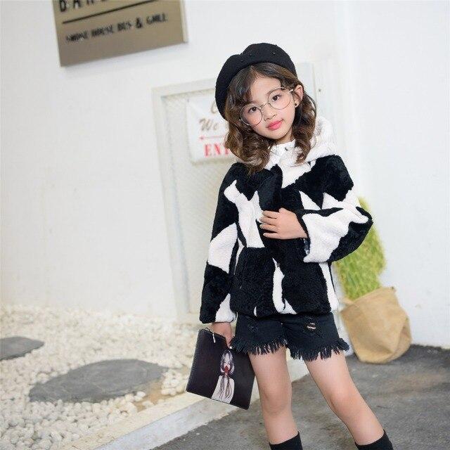 Contraste élégant Couleur Veste Europe marque hiver laine manteau de  fourrure tendance de fille à manches 5d0cd0662eaf