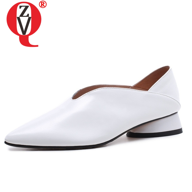 ZVQ genuine leather Office Lady Spring woman pumps 33 43 large size Strange Style graceful 3cm
