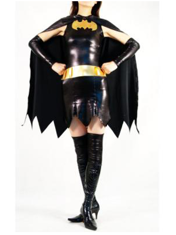 Batman Shiny Metallic Zentai Super Hero Halloween Party Costume with Cape Batgirl Batwoman Cosplay Bodysuit