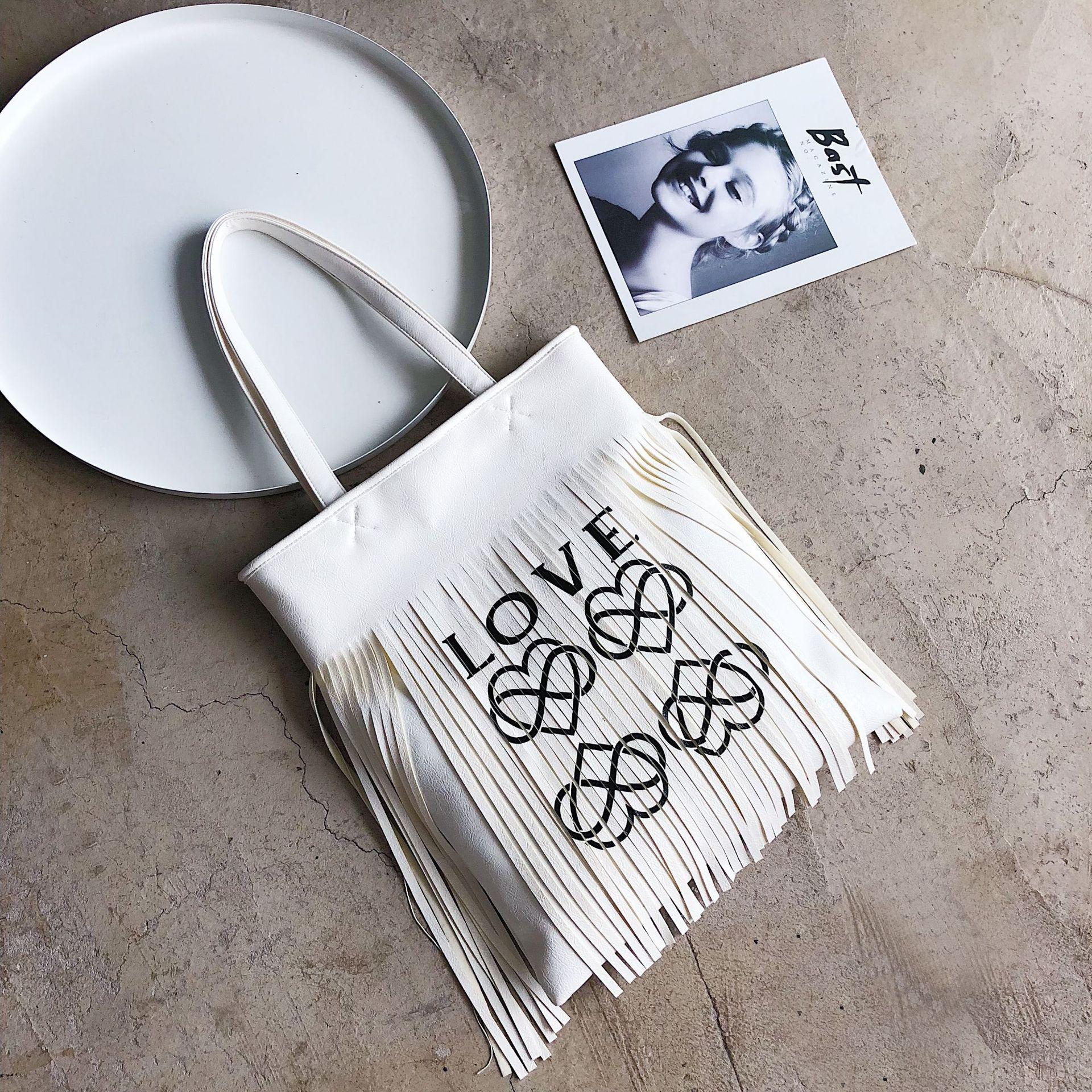 Nuovo Del Della white Bag Grande Sacchetto Di Modo Capienza Spalla Tote Fiammifero Tutto Nappa Il Borsa Black Lettera Femminile silver F1tnxxPq