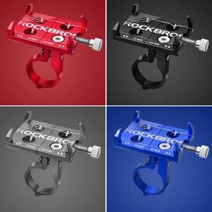 Image 5 - ROCKBROS Universal Aluminum Bike Phone Mount Stand Holder Bracket Adjustable Bicycle Handlebar Mount For 3.5 6.2inch Smartphone