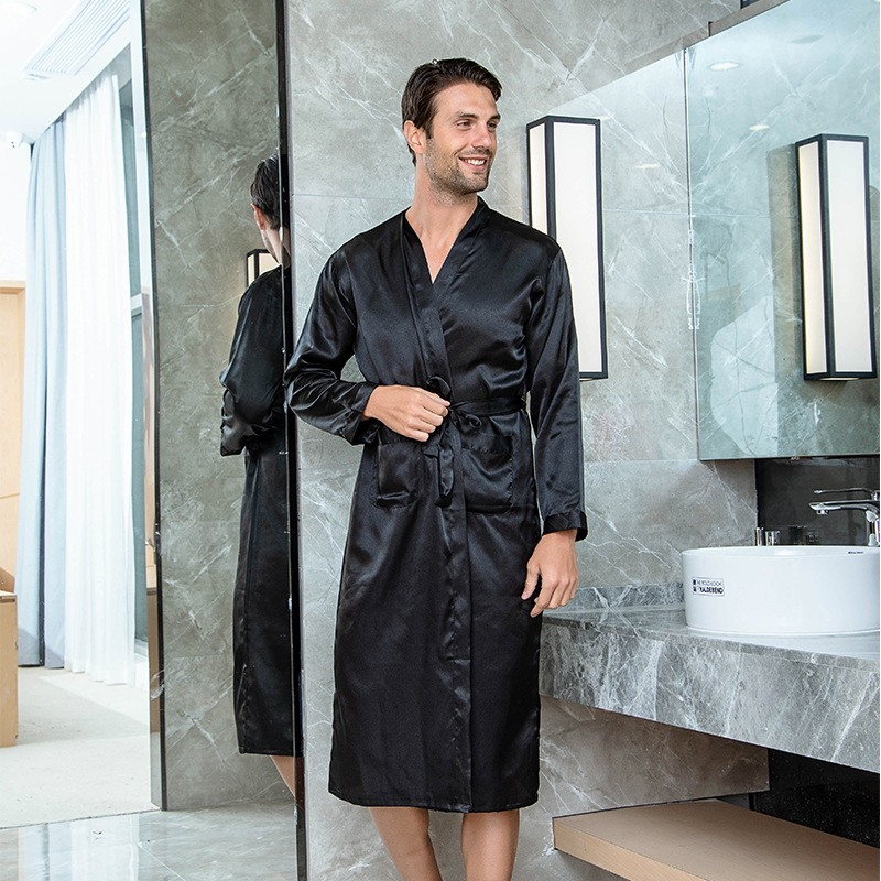 Solid Men Satin Robe Fashion Bridegroom Wedding Robes Kimono Bathrobe Gown Sleepwear Casual Male Home Nightgown Sleep Shirt