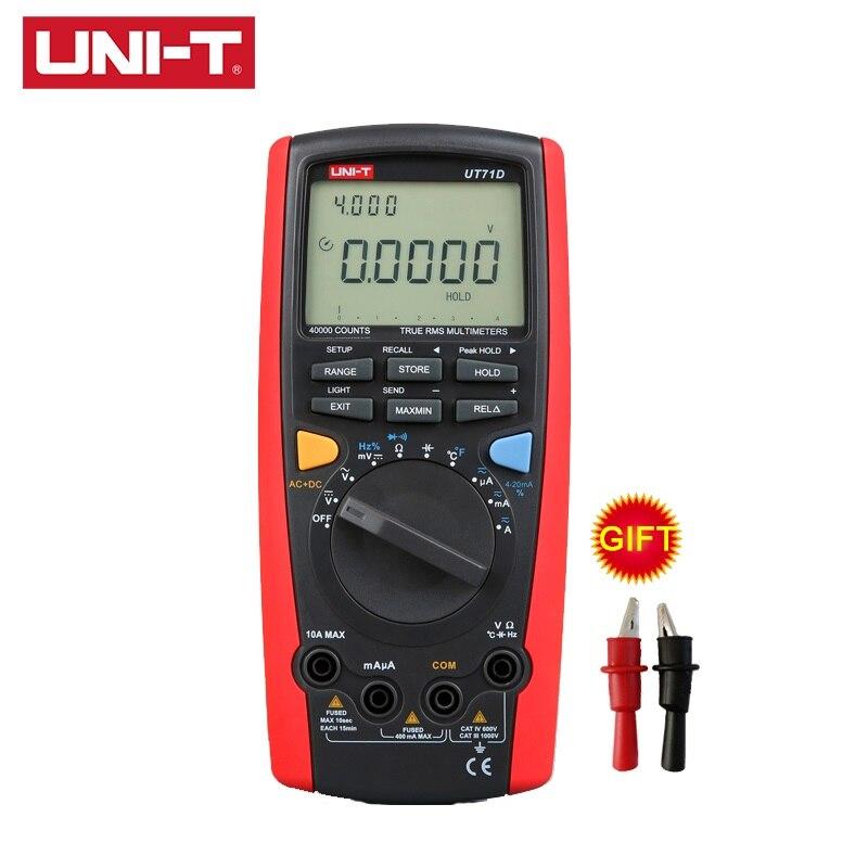 UNI T UT71D Digital Intelligent Multimeter LCD AC DC Volt Amp Ohm Hz Temp MultiMeters Auto Range Power 2500W True RMS Multimeter in Multimeters from Tools