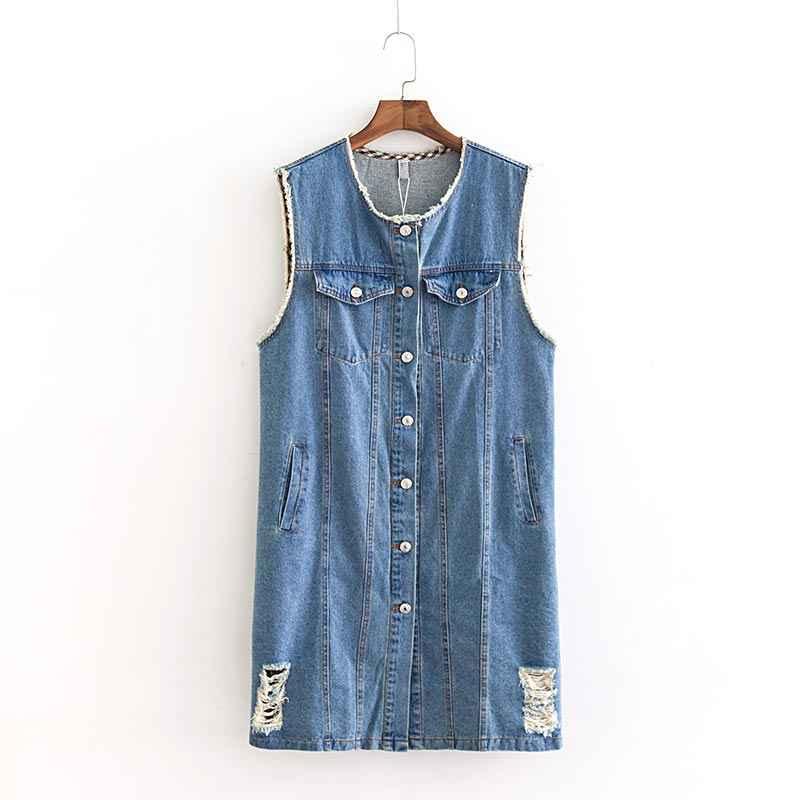 B2 осень-зима повседневные жилеты 5XL плюс Размеры женская одежда модные свободные рукавов джинсовые пальто B714