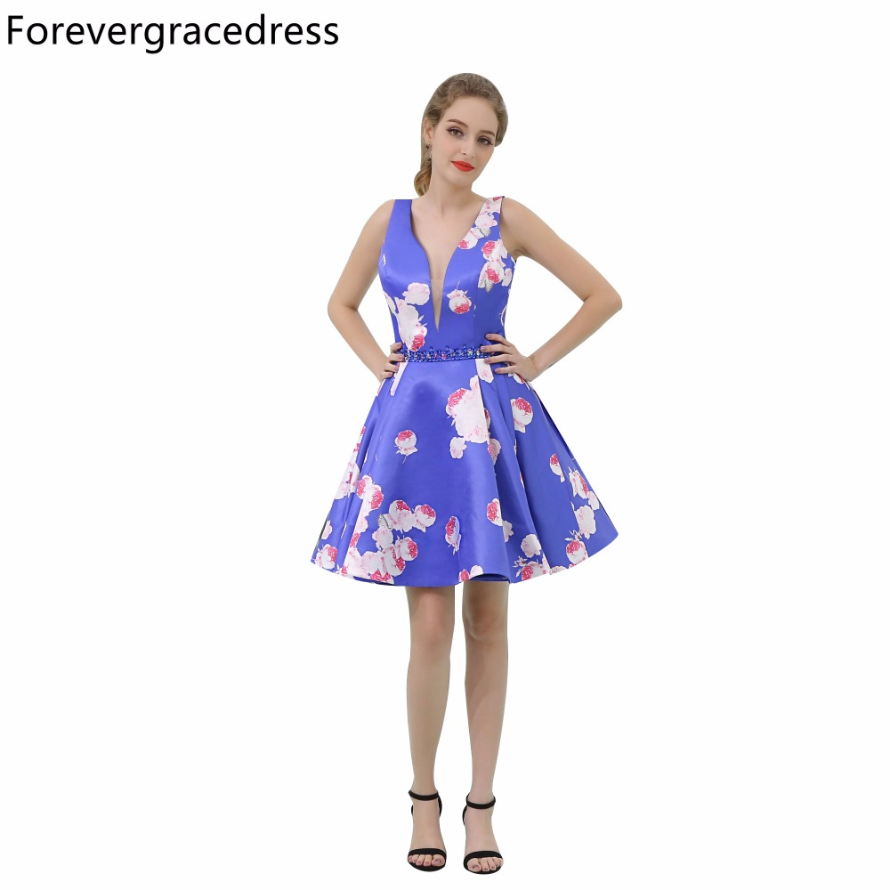 Forevergracedress Real Pictures Floral Print Cocktail Dress Deep V Neck Knee Length Short Homecoming Party Gown Plus Size