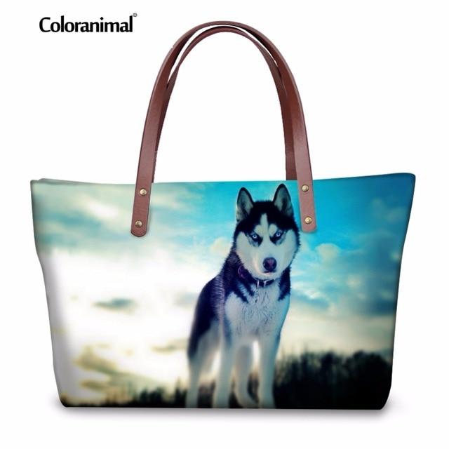 Coloranimal Siberian Husky German Shepherd Dog Women Fashion Handbags Animal Print Large Capacity Top Handle