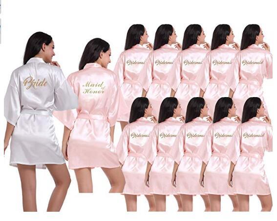 Новинка 2019, халаты для подружки невесты, халаты для невесты, светло-розовый атласный халат, халаты для подружки невесты, свадебные халаты
