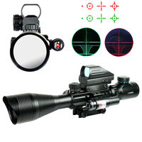 4 12X50EG Tactical Gun Rifle Scope with Holographic 4 Reticle Sight & Red Laser Combo Airsoft Gun Weapon Sight Hunting