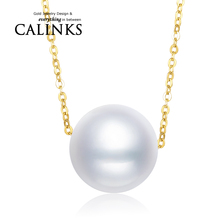Pure Solid 18k Yellow Gold Fresh Water Pearl Necklace Women Chain Necklace Gift Natural Pearl Link Engagement Wedding Jewelry