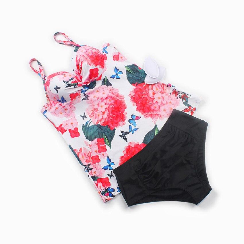SPORLIKE Swimwear Women Swimsuit 2017 Sexy Push Up Tankini Set Vintage High Waisted Bathing Suit Summer Beach Wear Plus Size 3XL