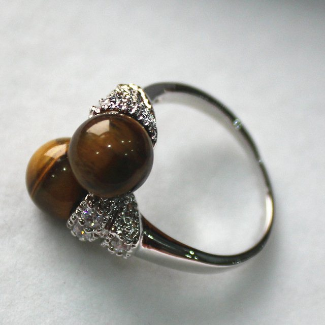 Fashion & Charming 8mm Tiger Eye Jade Ring P(#7 8 9)