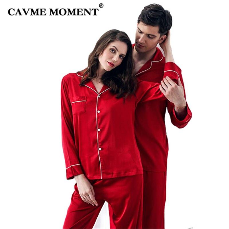 6117153c81027 CAVME Роскошные атласные пижамные комплекты для влюбленных для женщин пижамы  Femme атласная Мужская пижама красного цвета