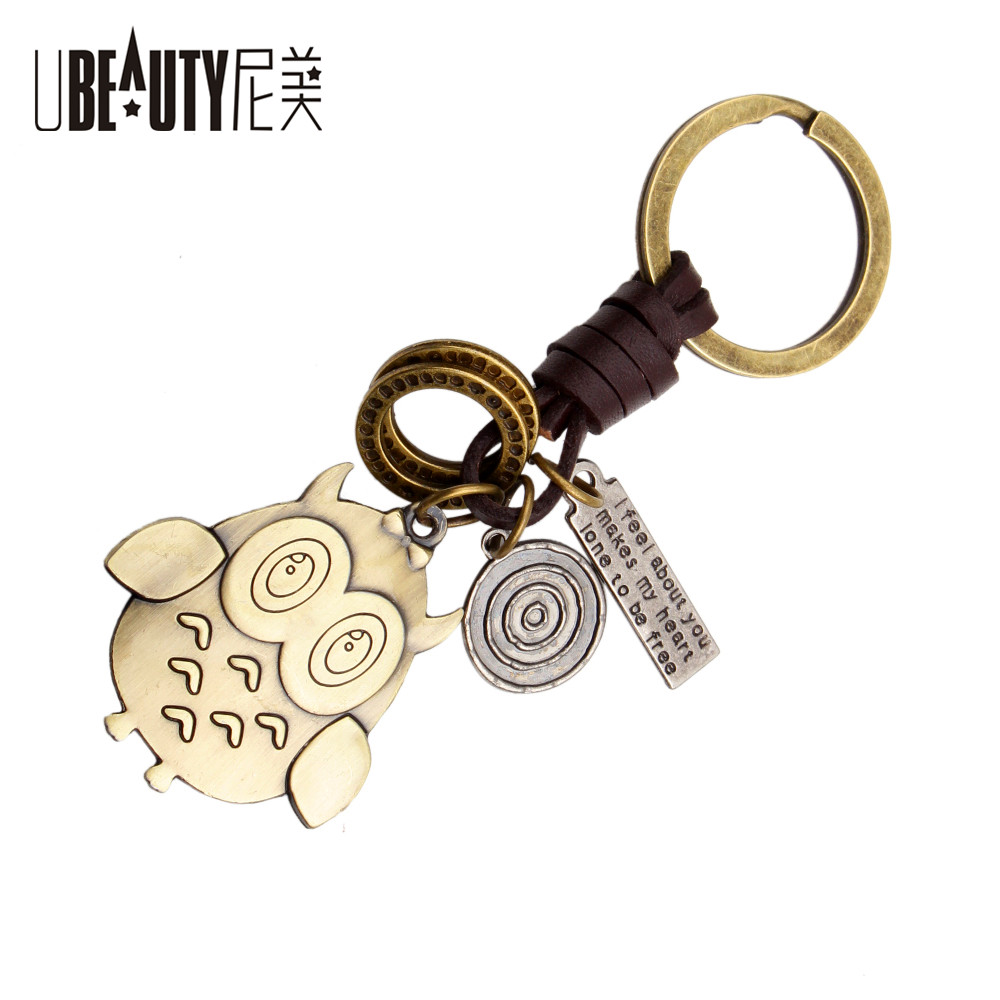 New Creative Hot Sale Bronze Key Chain bronze Owl Pendant Fashion Keychains Car Keyrings ...