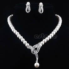Luxury Wedding Bridal Rhinestone Crystal Faux Pearl Earring Necklace Jewelry Set(China)